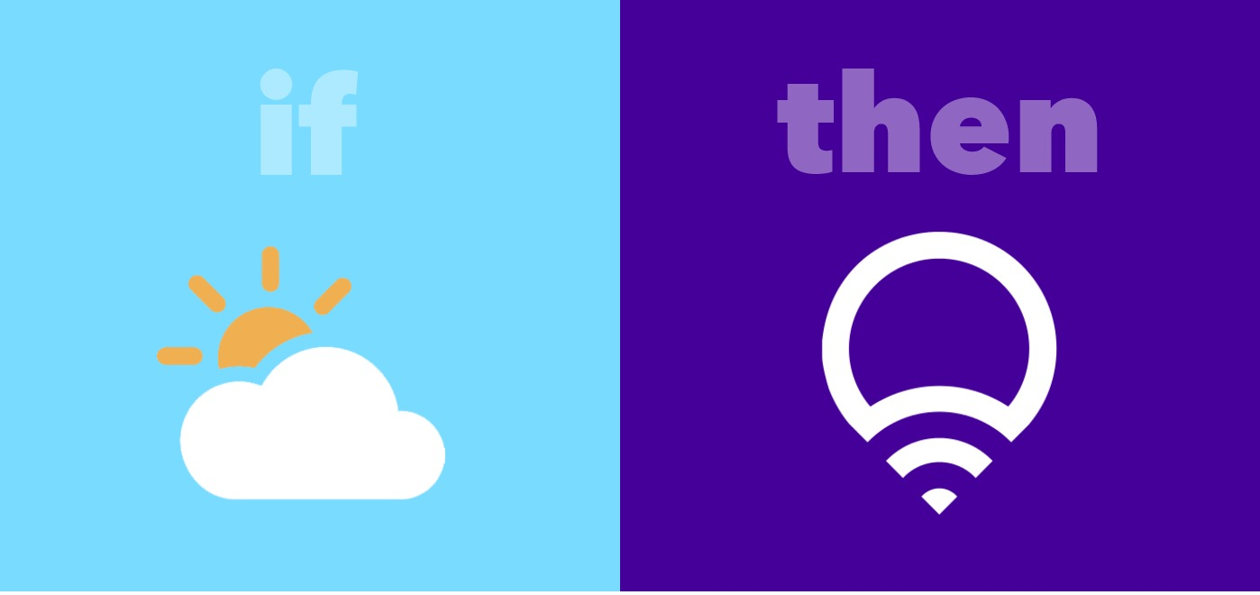 IFTTT Recipe: If it begins to rain, change lights to pink connects weather to lifx