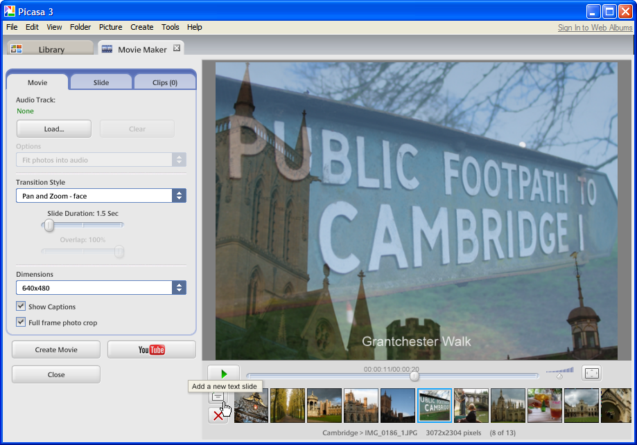 Picasa editing software now lets users export movies with musical soundtrack to a file or YouTube.