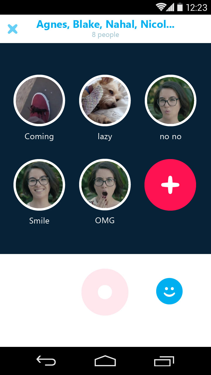 """The app comes with """"Qik Fliks,"""" pre-recorded video messages people can send if they're busy or in circumstances where it's inconvenient to record a new message."""
