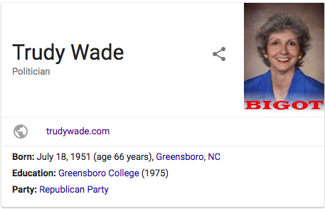 """A Google search for """"Trudy Wade"""" shows an image with """"BIGOT"""" written on it."""