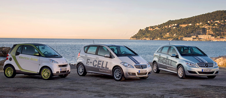 Daimler's planned EV line-up includes the Smart ForTwo Electric Drive, A-Class E-Cell, and the F-Cell fuel cell vehicle.