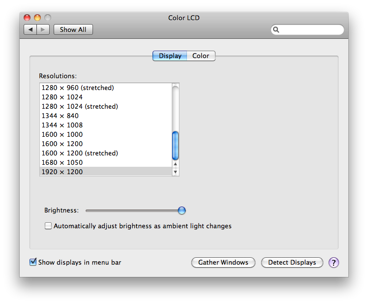 OS X Displays system preferences