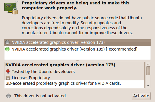 Proprietary drivers for hardware components need to be installed after the installation of Ubuntu is completed.