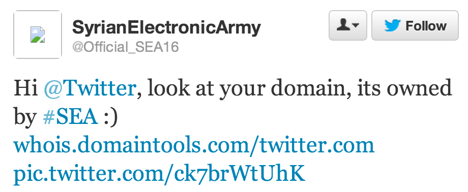 A Syrian Electronic Army Twitter account claimed credit for the Twitter attack.