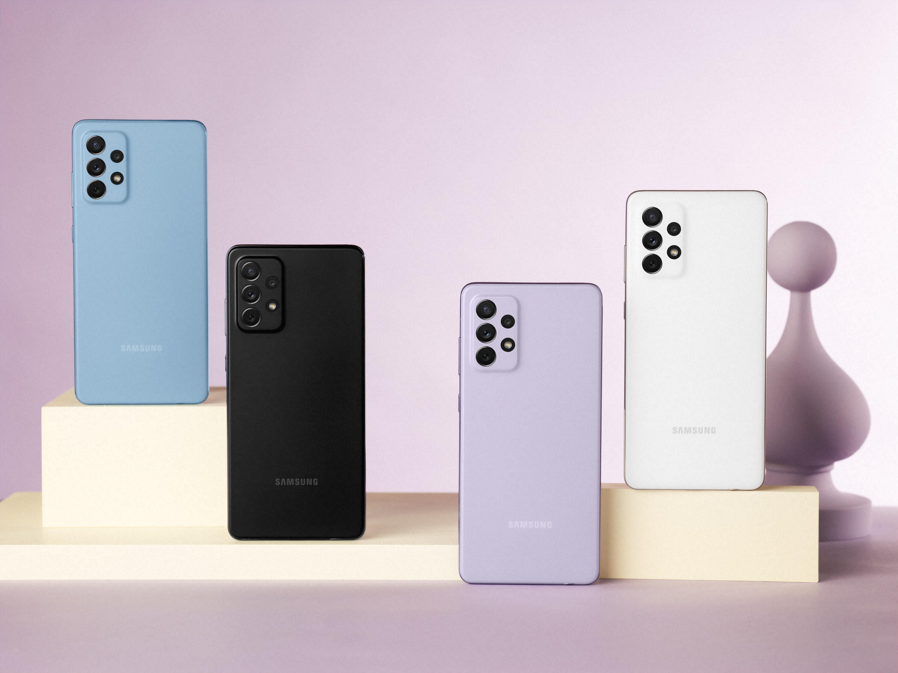 Samsung's Galaxy A72 in blue, black, violet, and white.