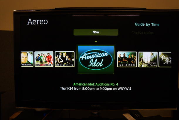 Aereo offers live TV streaming.