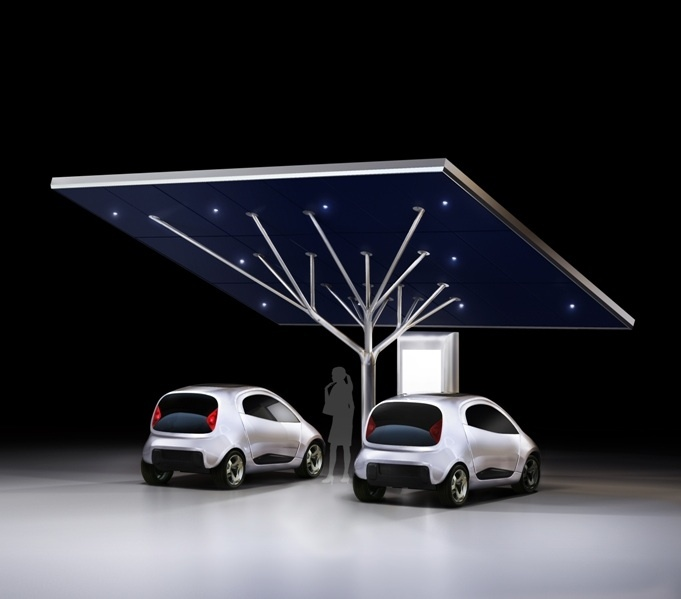 The Antares two-car solar charging station.