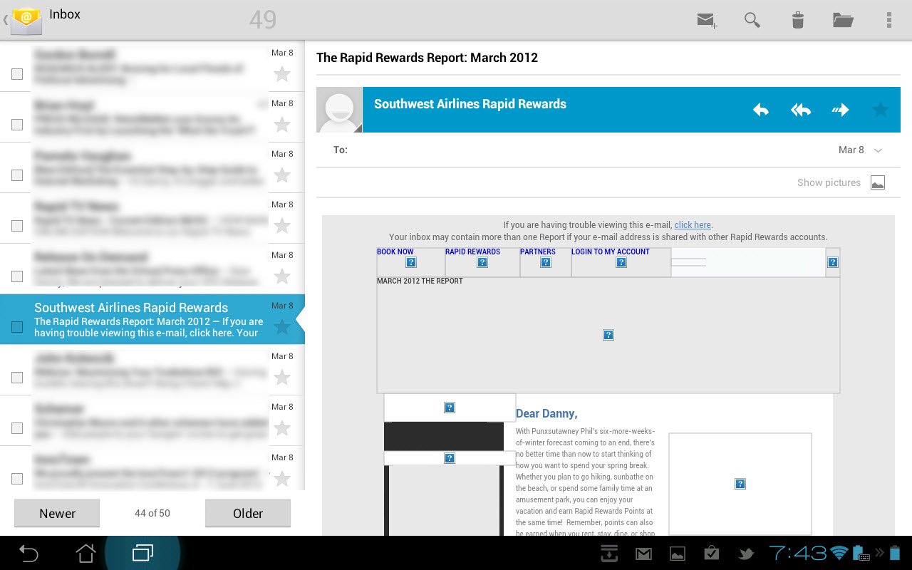android tablet e-mail