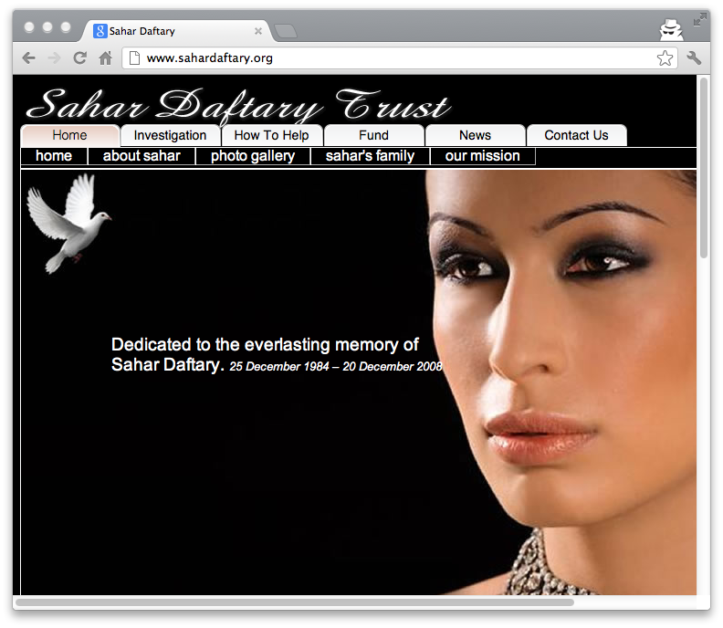 Screen snapshot of a Web site, SaharDaftary.org, set up to solicit information about Daftary's death.