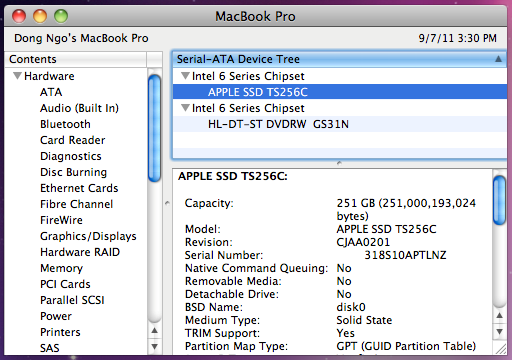 One of the reasons the new Macbook Pro is so expensive (and speedy) is that it's equipped with a 256GB solid-state drive.