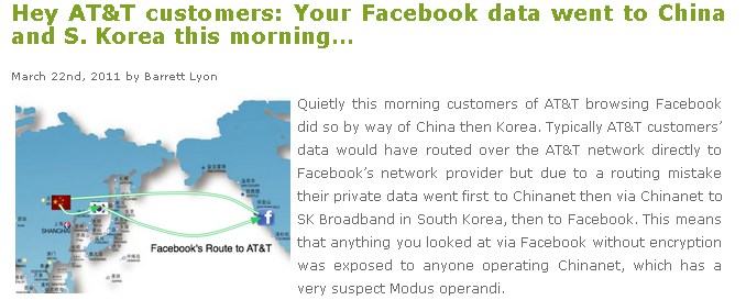 Barrett Lyon's blog revealed that traffic destined for Facebook was mysteriously re-routed through China.