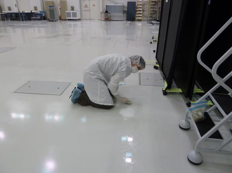 Collecting microbes in a NASA clean room