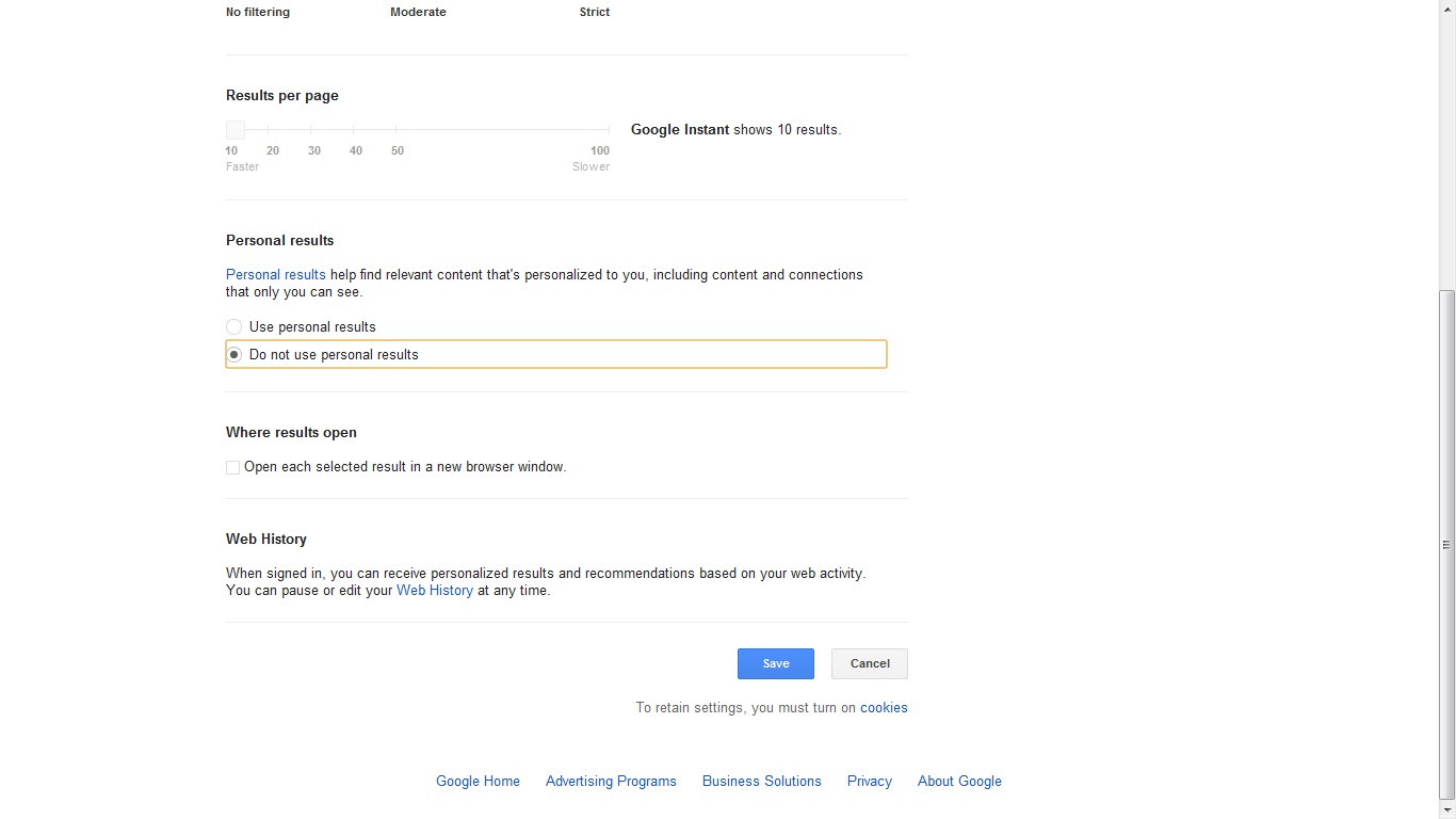 Step 2: Change Google search settings.