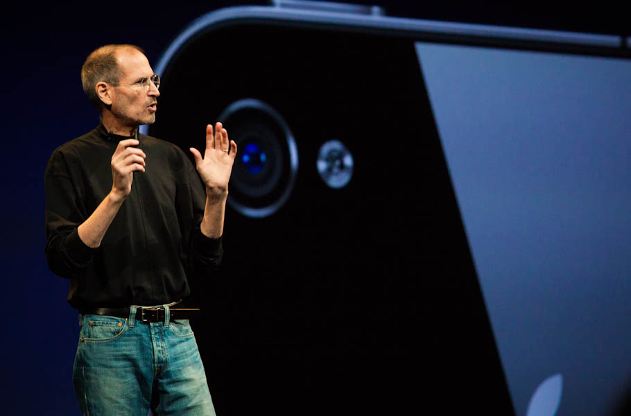 Jobs introducing the iPhone 4 last year.
