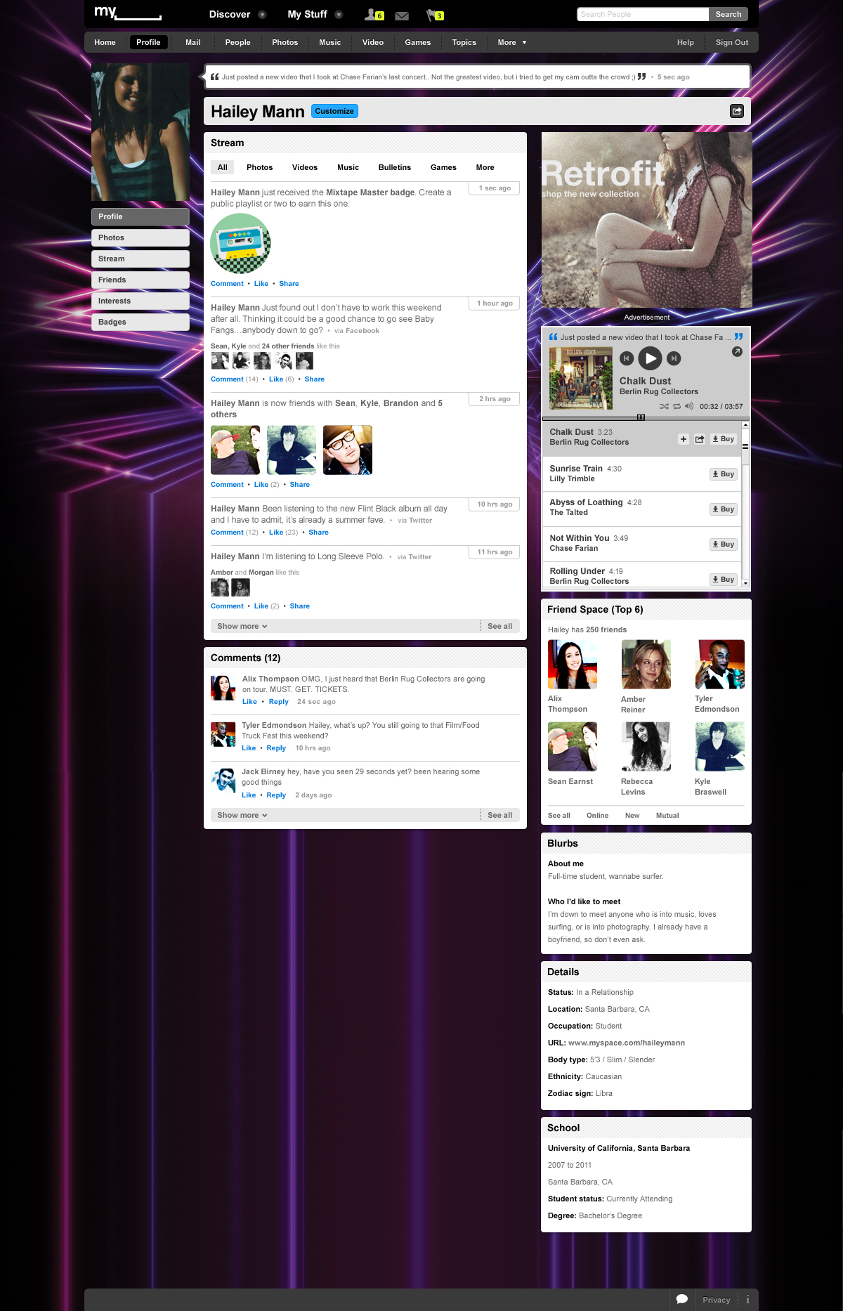 A view of the new MySpace Profile page.