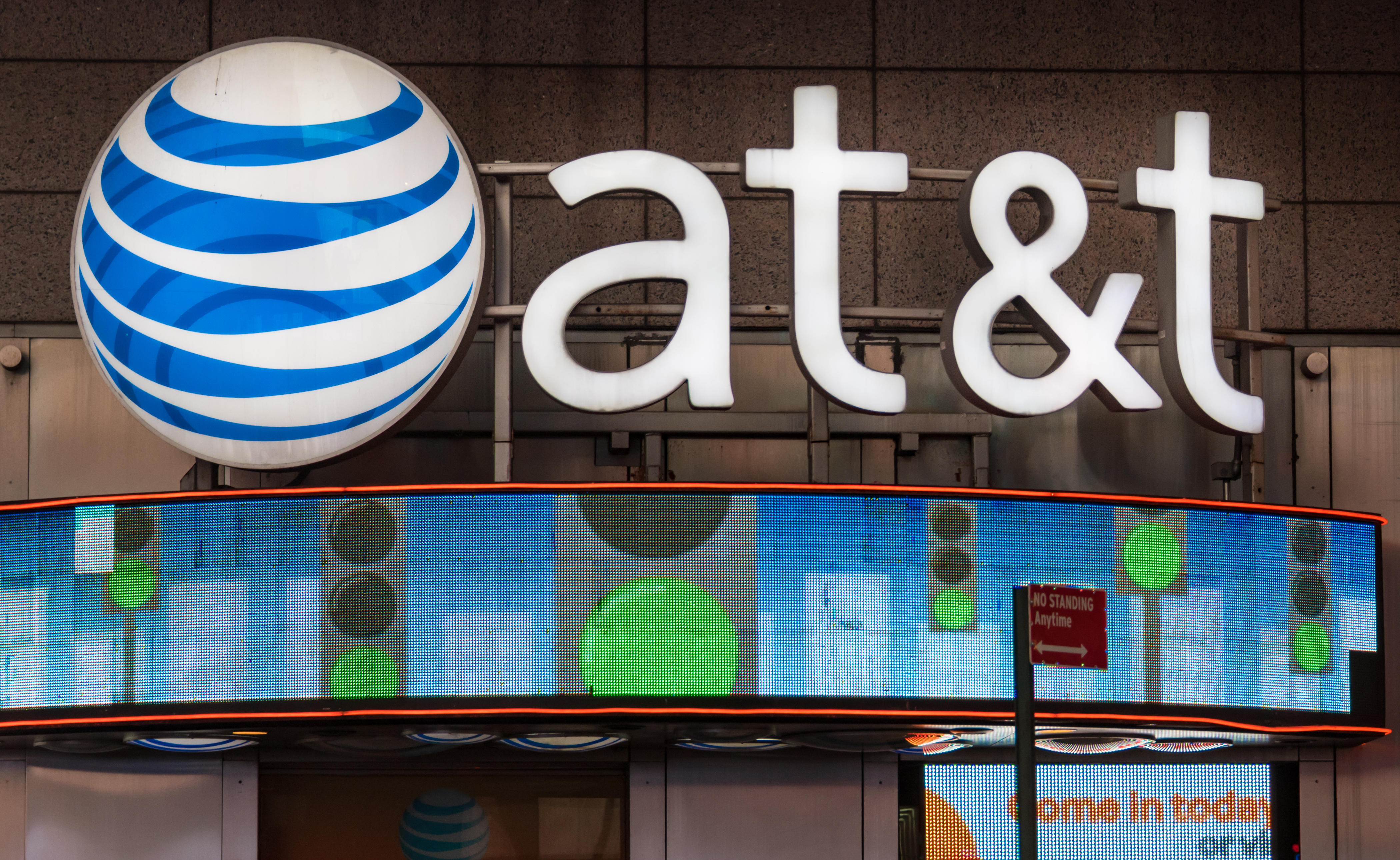 AT&T office in New York City. The company's purchase of Time Warner Cable could be in doubt if the DOJ follows through on suing to block the deal.