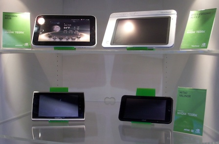 On the CES floor, Nvidia was showing prototype tablets using its new Tegra 2 chip