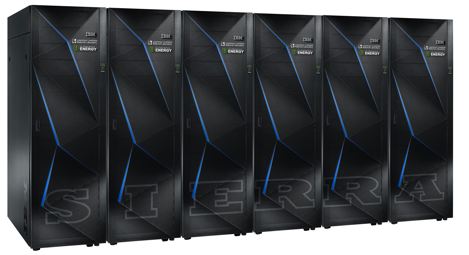 This rendering shows a few of the cabinets that ultimatly will comprise IBM's Sierra supercomputer at Lawrence Livermore National Laboratory.