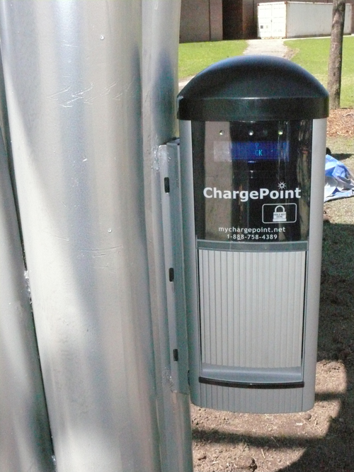 The Solar Plug-in Station operates as part of the ChargePoint Network.
