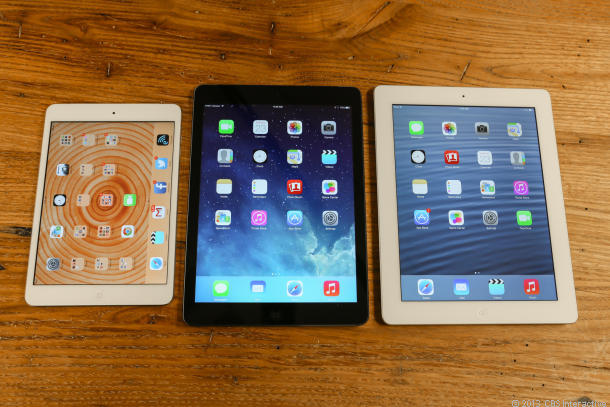 From left: The original iPad Mini, iPad Air, and fourth-generation iPad.