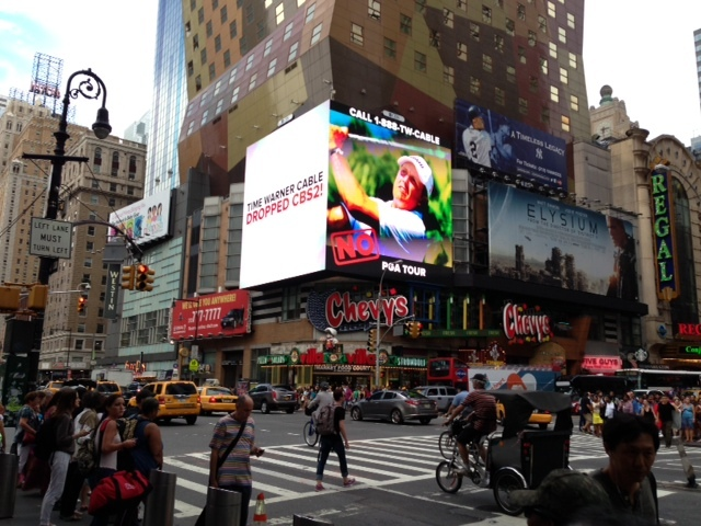 An CBS ad on a large screen in Times Square