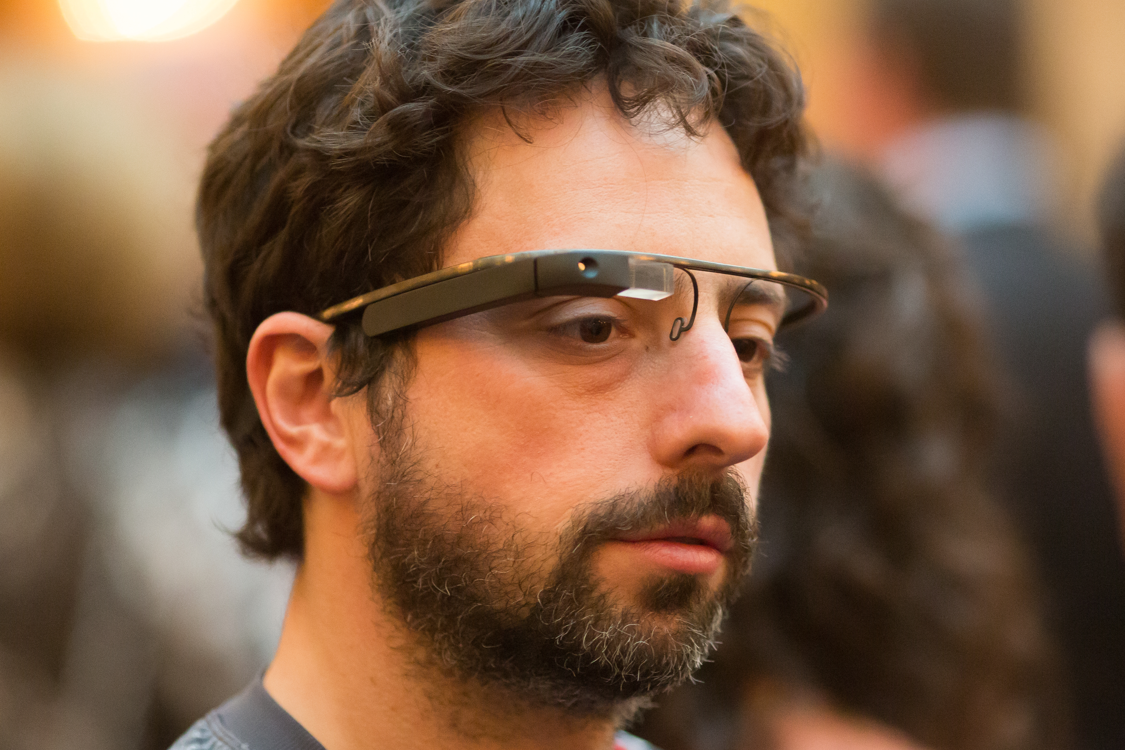 Google co-founder Sergey Brin sports augmented reality glasses at a charity event yesterday.