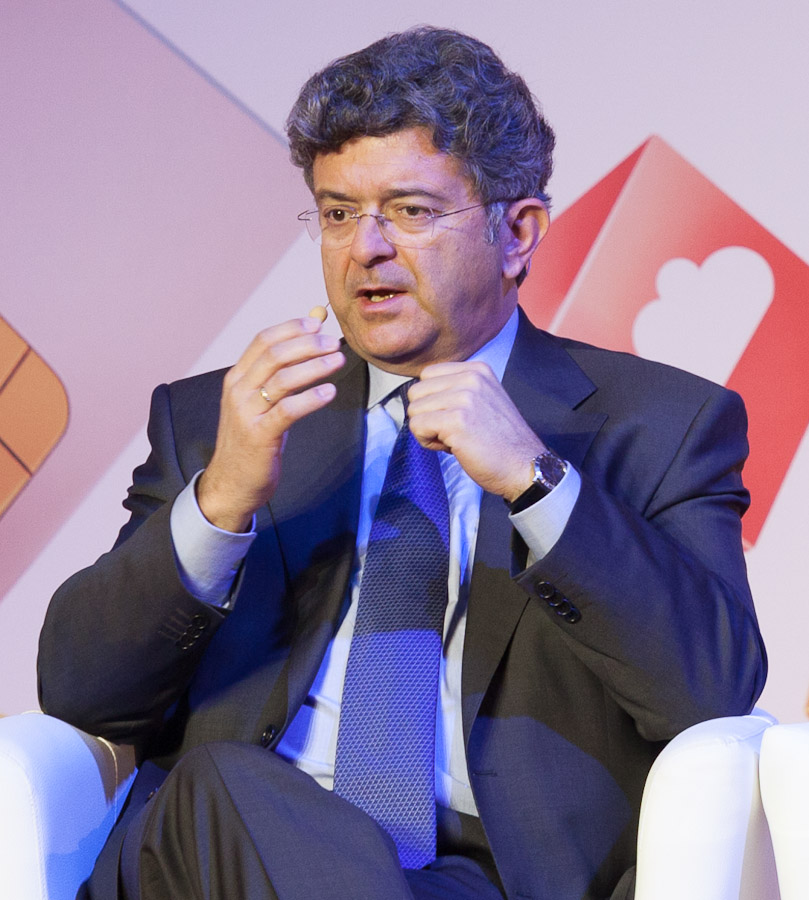 Telefonica CEO Santiago Fernandez Valbuena speaking at Mobile World Congress in Barcelona, Spain.
