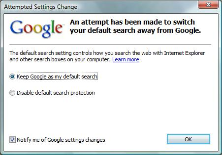 Google Toolbar Attempted Settings Change dialog