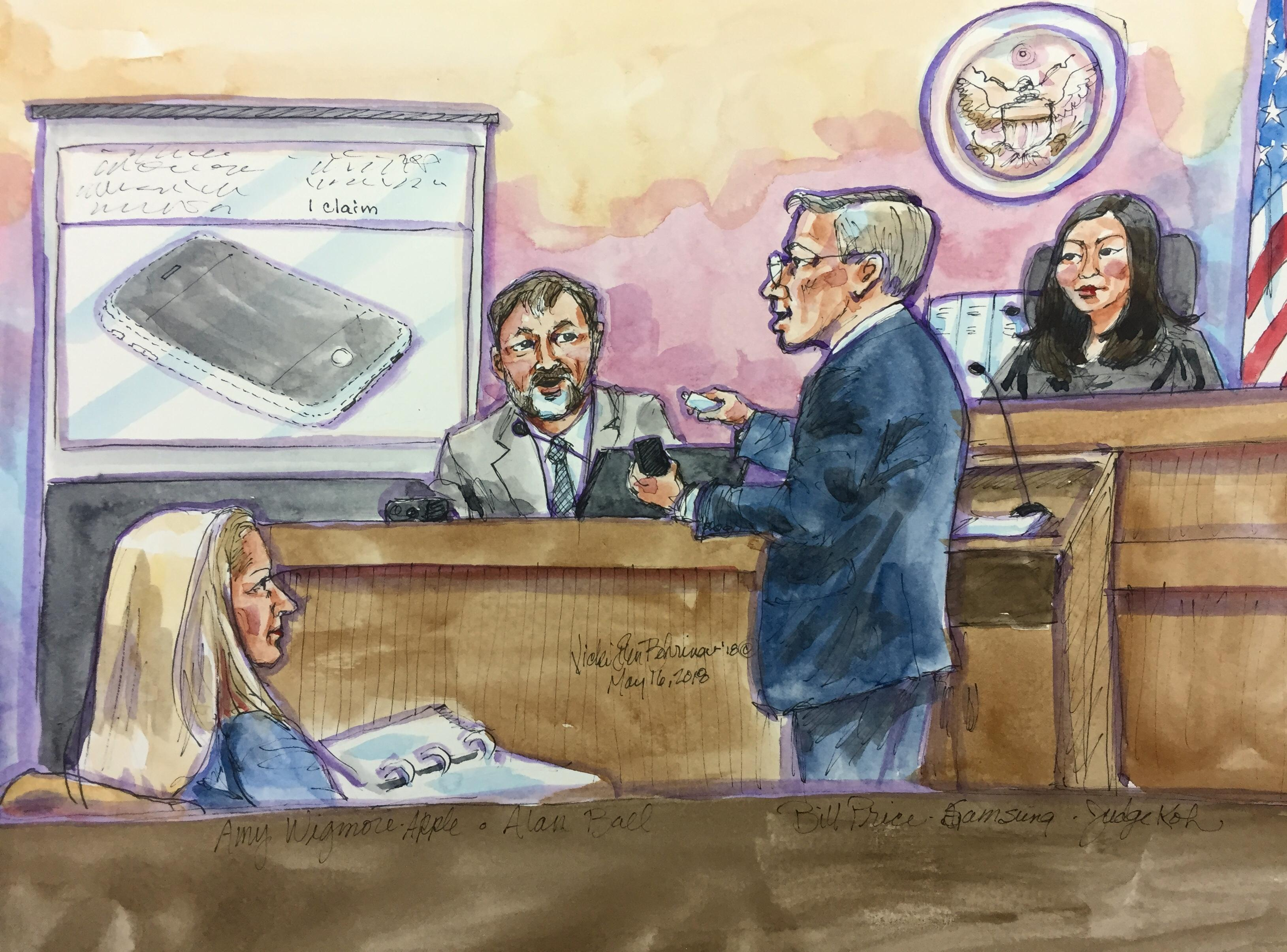 Alan Ball, an independent industrial designer, testifies in US Northern California District Court in San Jose about Apple iPhone design patents Samsung was found to infringe.