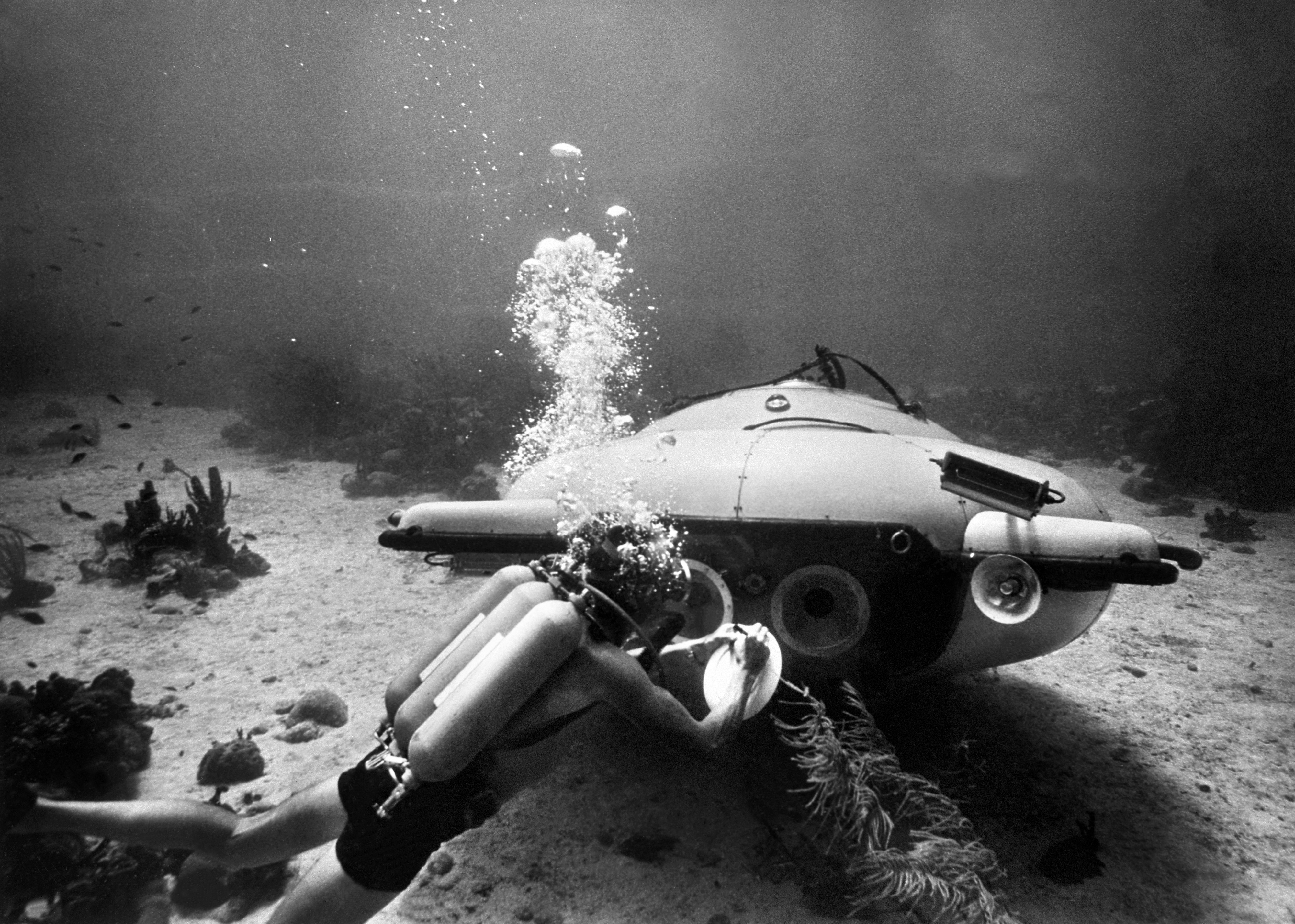 Jacques Cousteau and his diving saucer