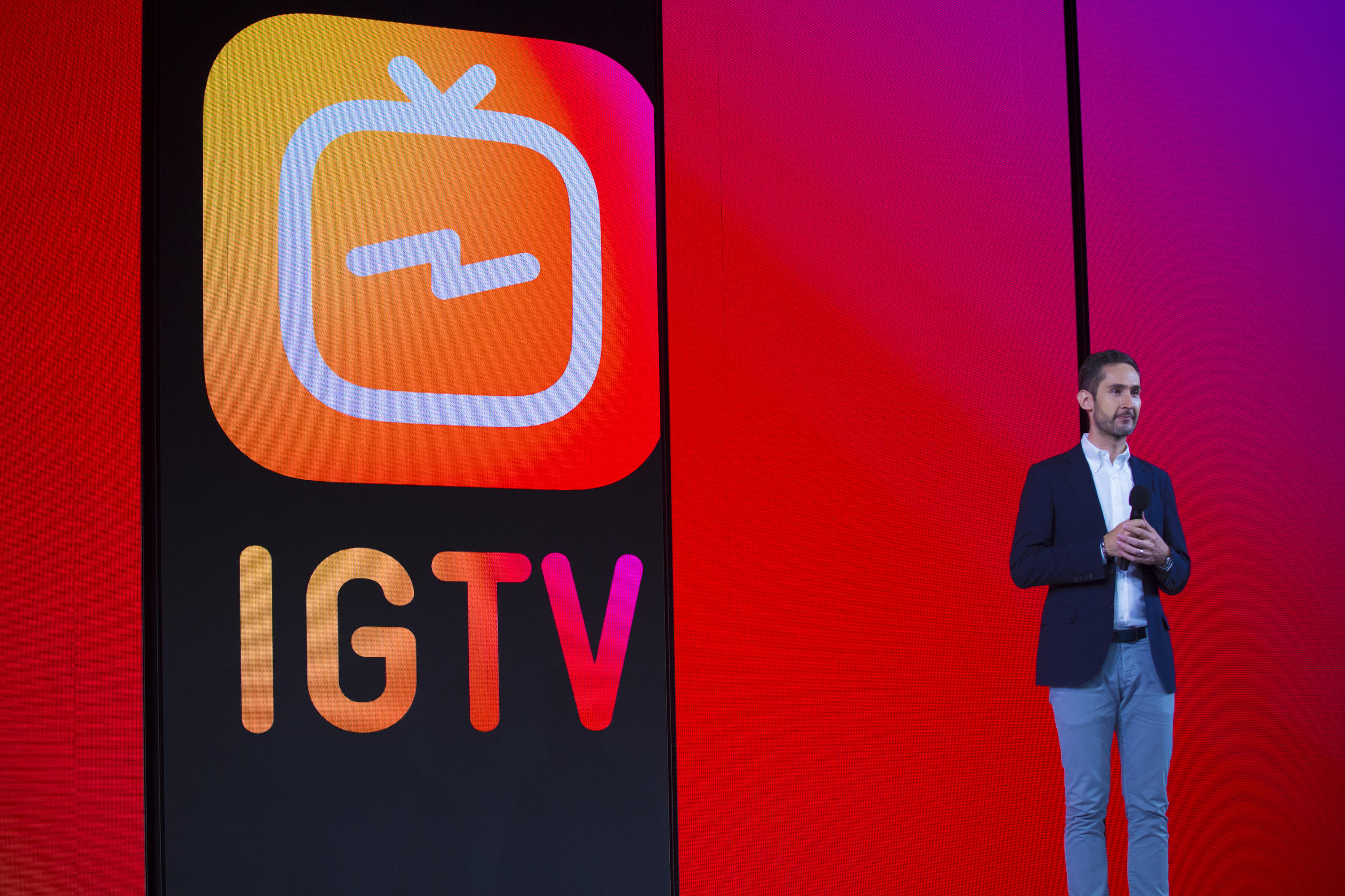 Instagram CEO Kevin Systrom announces IGTV at an event in San Francisco.