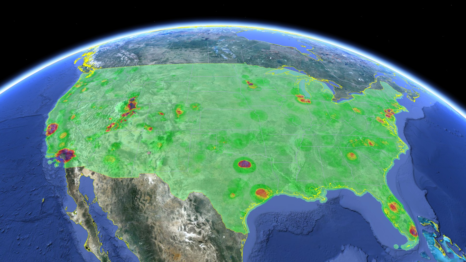 Google's database of free white space shows lots of green areas with unused capacity for wireless networks.