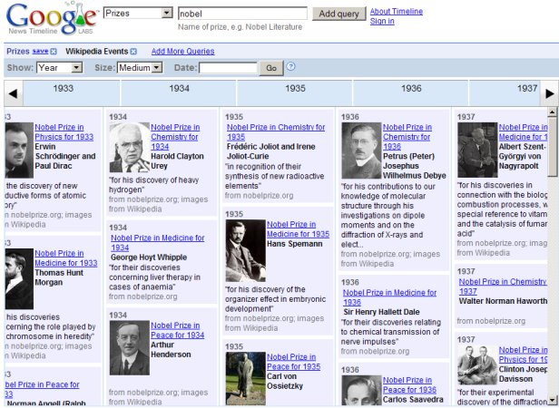 Google News Timeline provides a way to browse history through a variety of lenses.