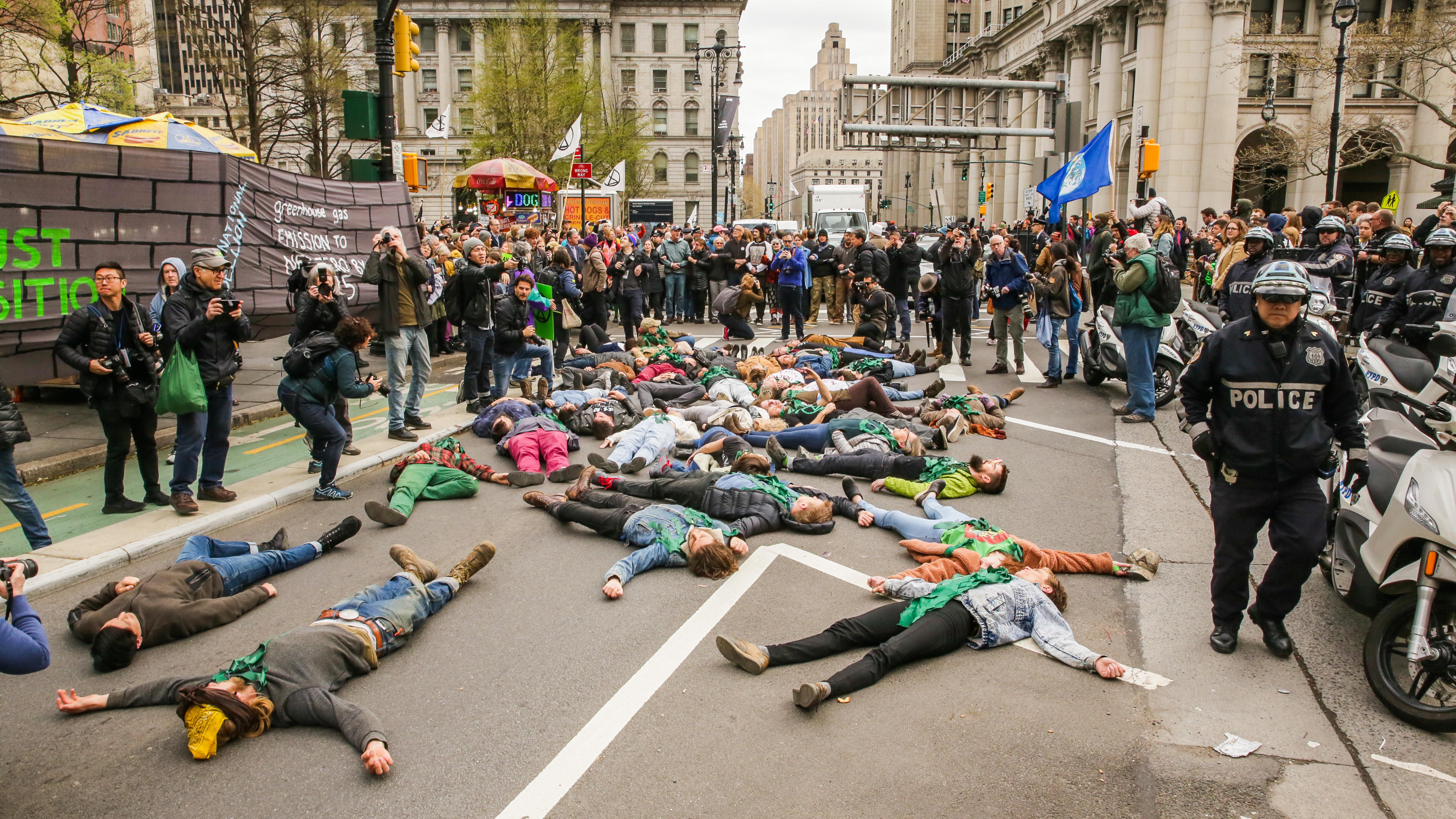 Extinction Rebellion activists stop traffic in NYC