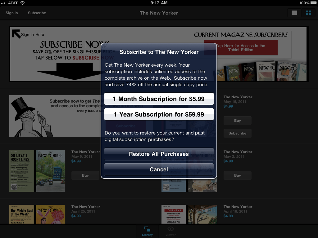 Readers of the iPad version of The New Yorker can now subscribe directly within the application.