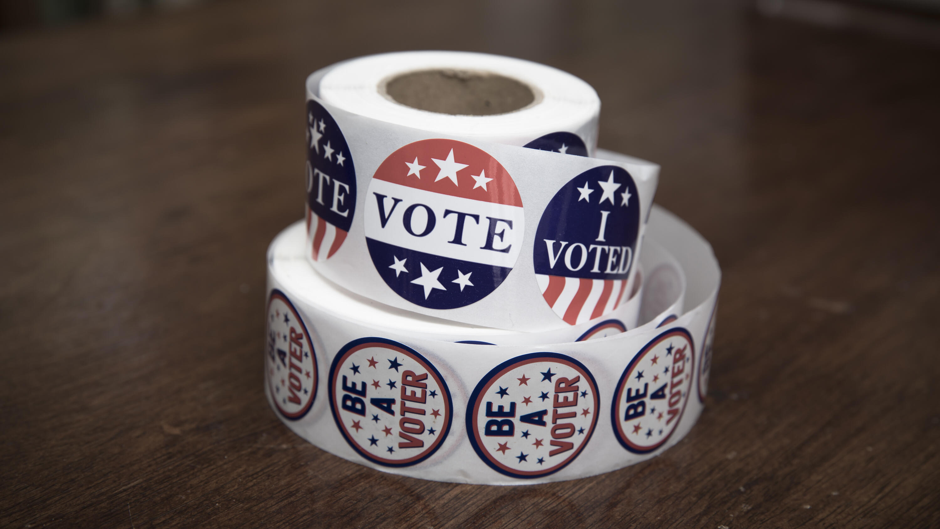 A roll of voting stickers