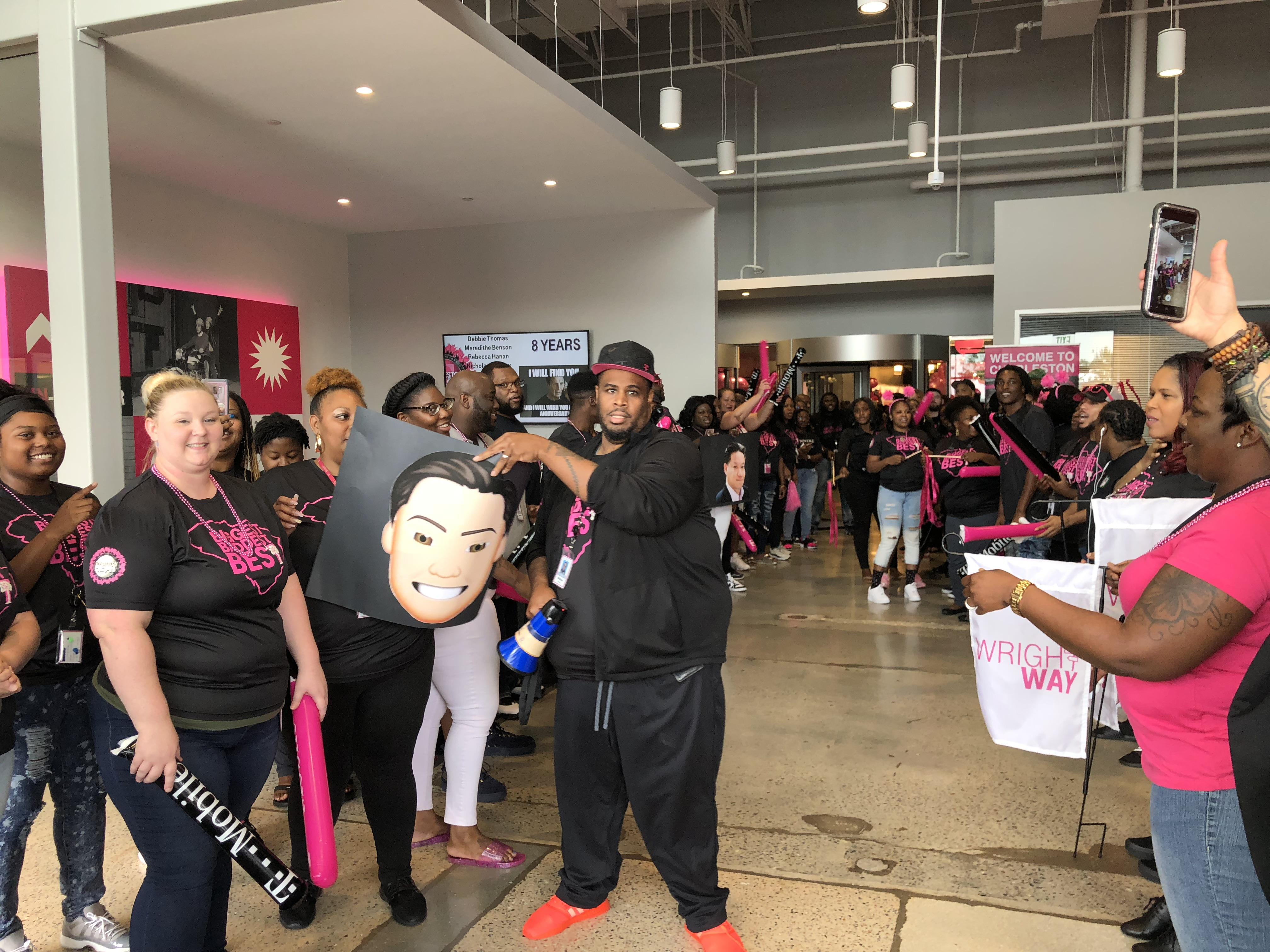 <p>This is how T-Mobile employees greet visitors to their customer care centers.&nbsp;</p>