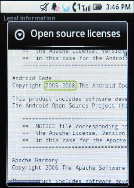 A screenshot of the Motorola i886's Open source licenses that shows it uses Android Code.