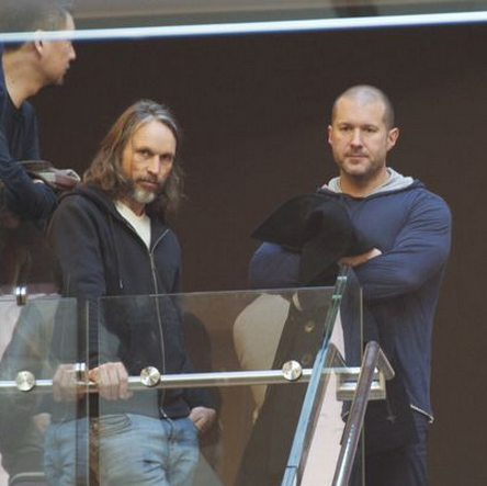Christopher Stringer (left) next to Apple design chief Sir Jony Ive (right) at a product launch.
