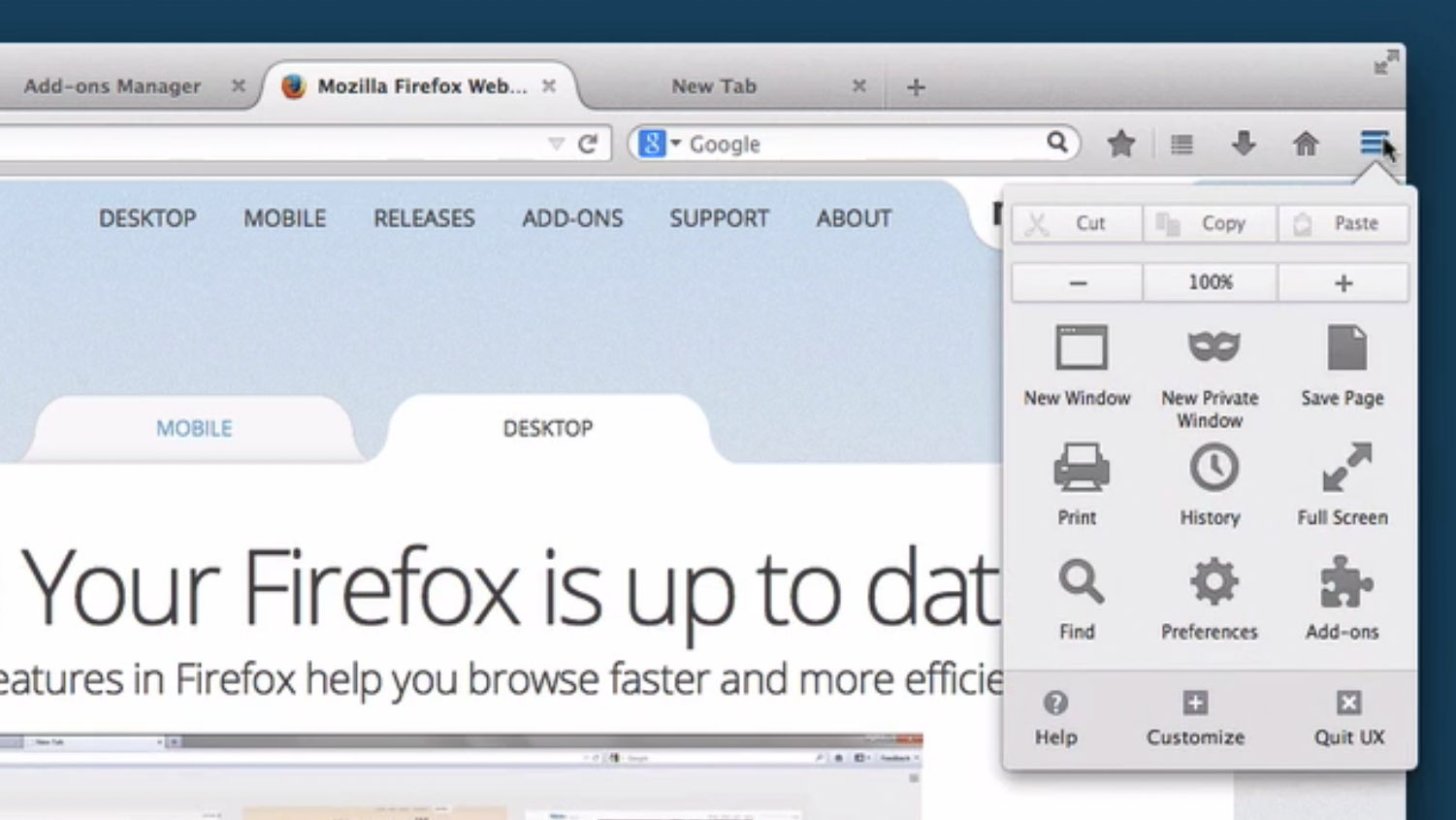 Firefox's menu under the Australis interface turns into a panel -- a grid of links.