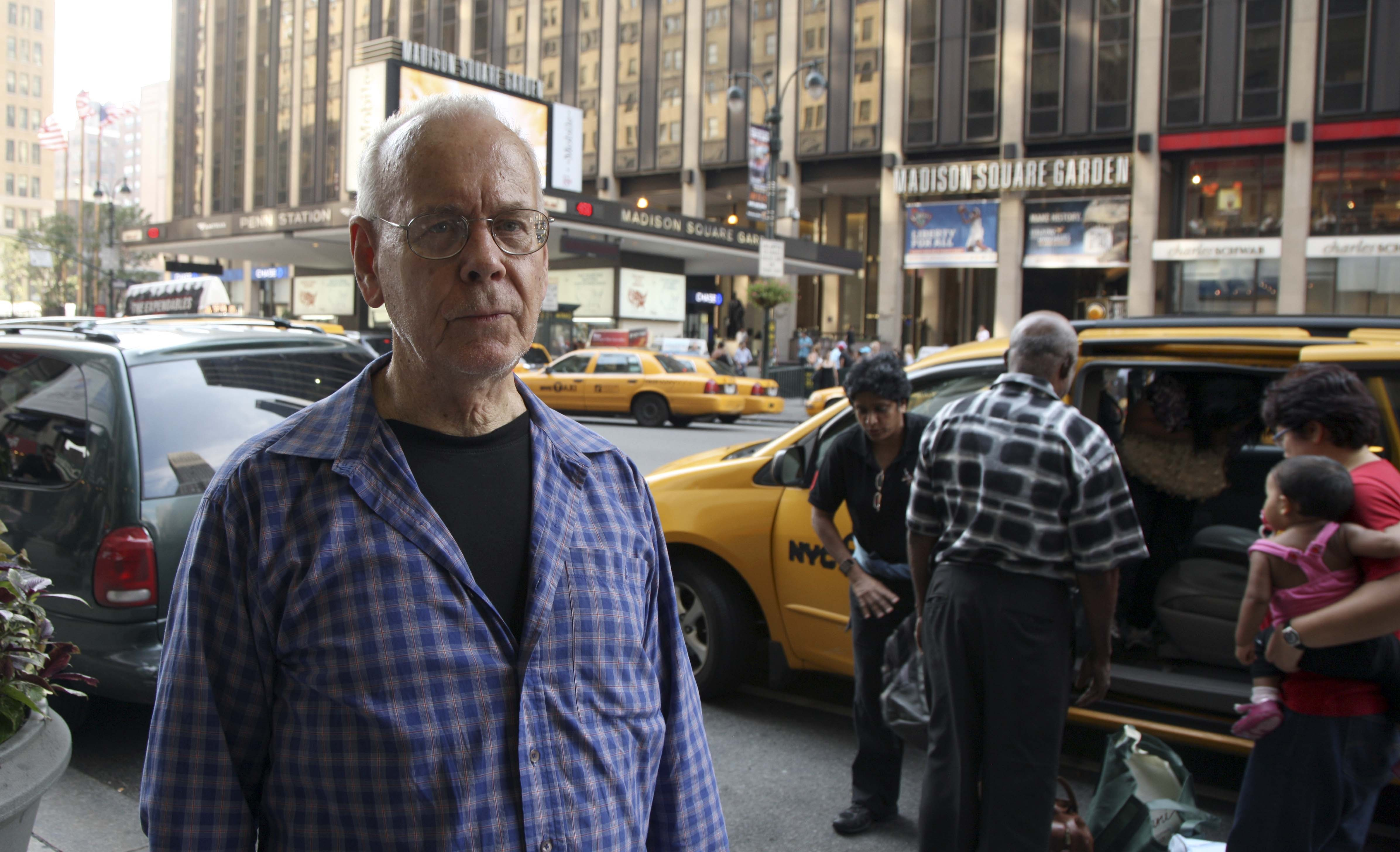 Caption: Wikileaks co-founder John Young outside of Next HOPE hacker conference in Manhattan last weekend
