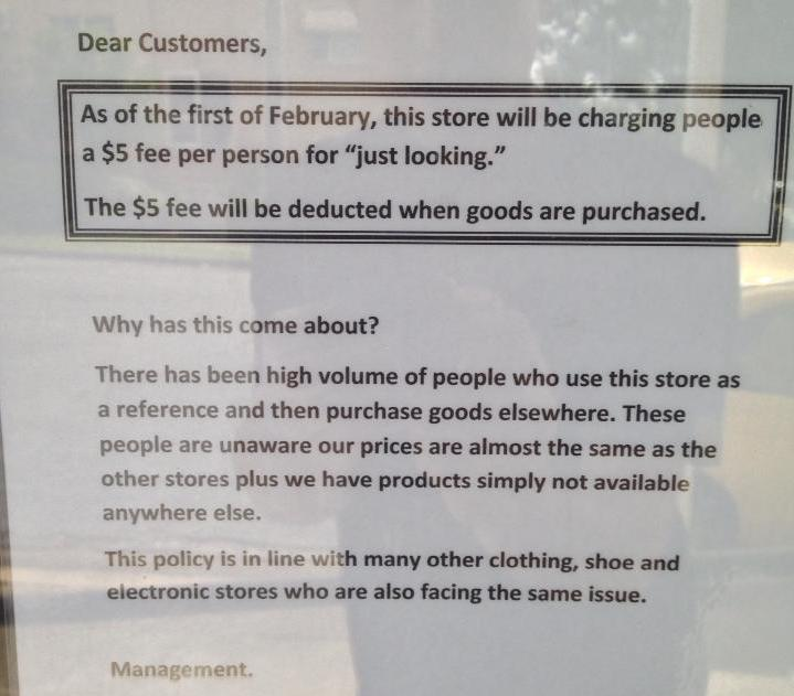 Showrooming sign