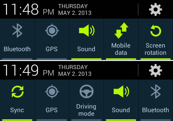Galaxy Note 2 notification panel: old vs. new