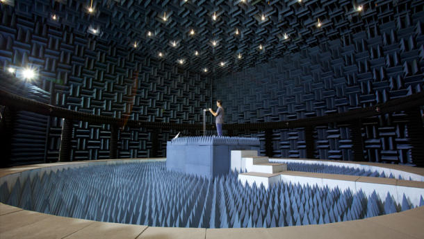 One of Apple's 17 different anechoic chambers, part of a $100 million research and development spend.