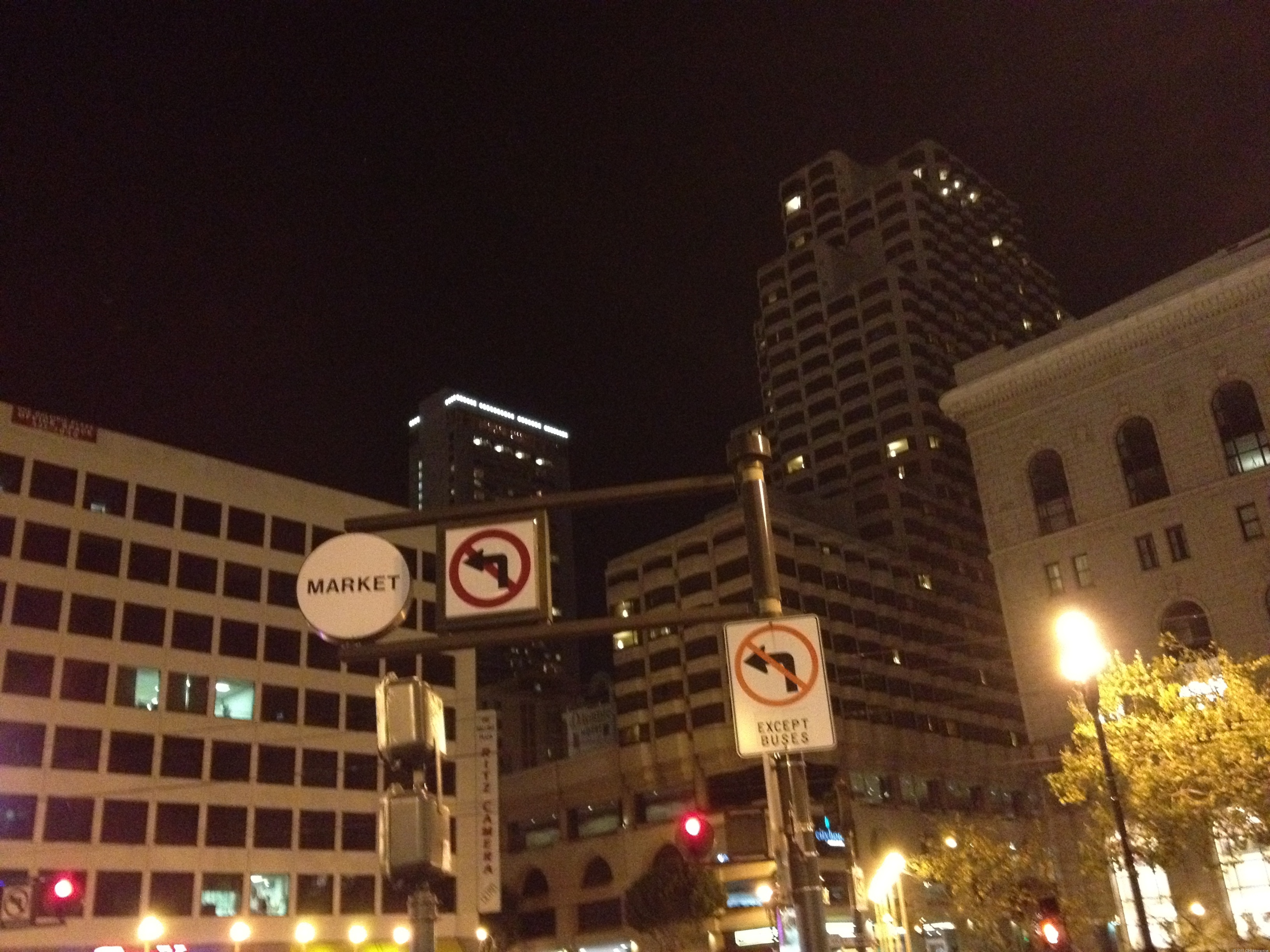 Downtown at night: iPhone 4S