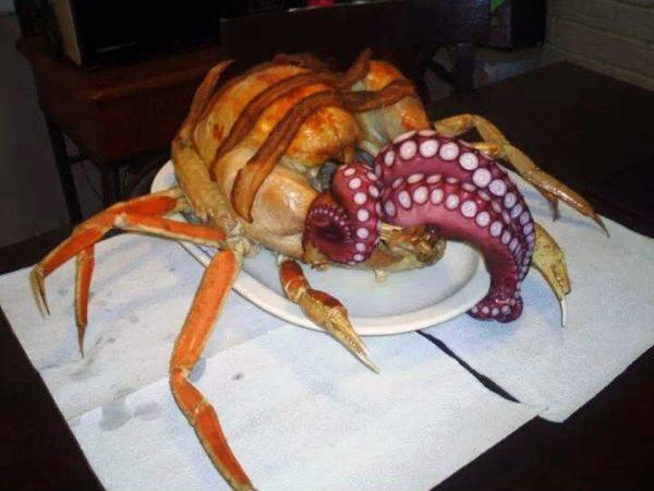 """<p>Cthurkey -- which was given the nickname """"Cthuken"""" by fans online -- is made from bacon, crab, octopus, and turkey.</p>"""