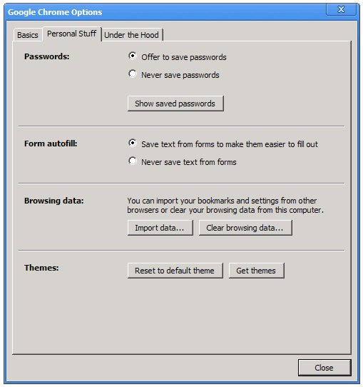 Chrome's options dialog box now lets you change themes, though at present it points to an empty Web site.