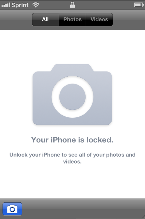 This is the message displayed when someone tries to view the photos on a locked iPhone.