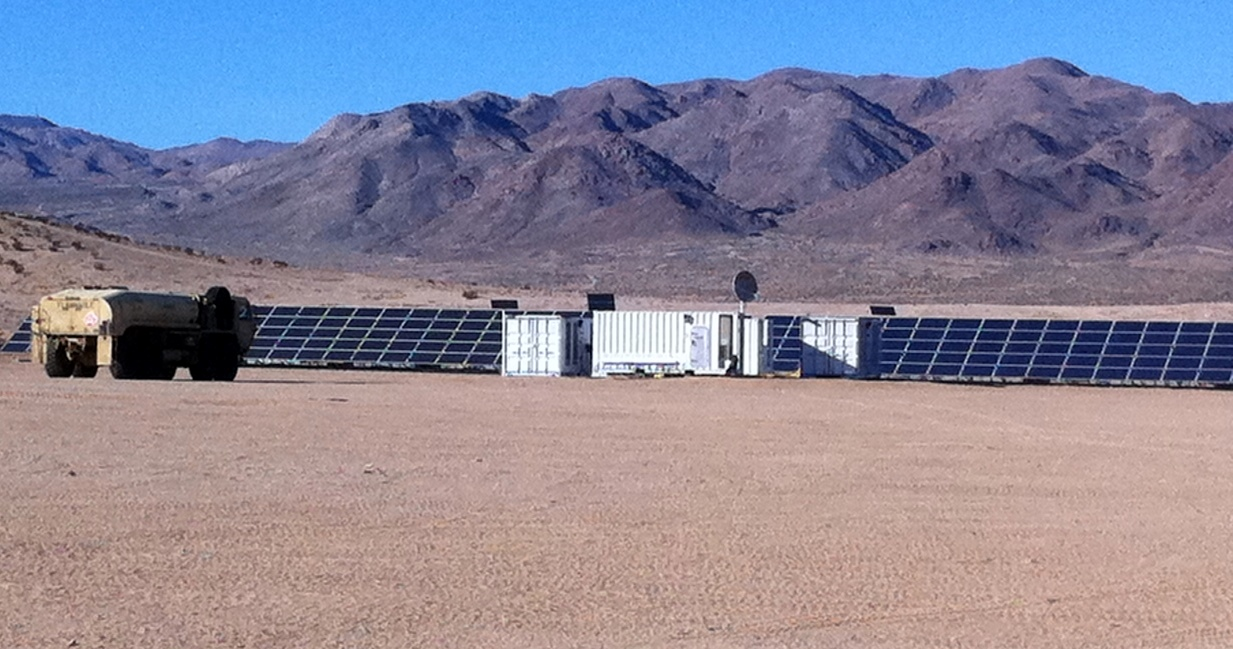 A photo of the one-megawatt microgrid planned for Afghanistan during testing in California.