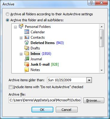 Microsoft Outlook 2007 Archive dialog